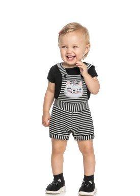 conjunto blusa e jardineira bebe feminino gatinha preto elian 211156 1