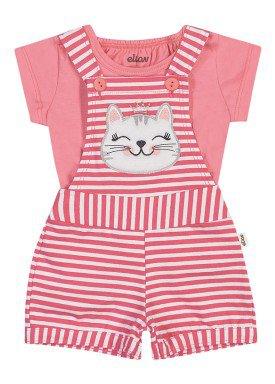 conjunto blusa e jardineira bebe feminino gatinha rosa elian 211156