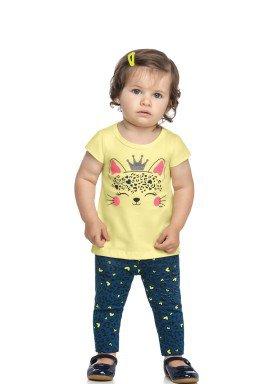 conjunto blusa e legging bebe feminino queen amarelo elian 211160 1