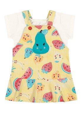 conjunto blusa e salopete bebe feminino frutas natural elian 211167