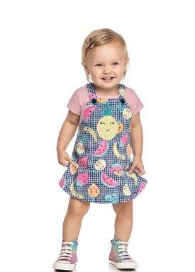 conjunto blusa e salopete bebe feminino frutas rosa elian 211167 1
