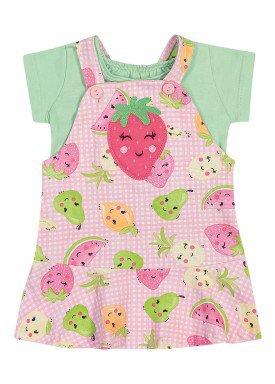 conjunto blusa e salopete bebe feminino frutas verde elian 211167