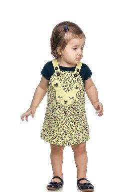 conjunto blusa e salopete bebe feminino oncinha amarelo elian 211161 1