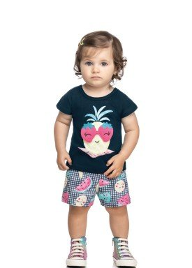 conjunto blusa e short bebe feminino abacaxi marinho elian 211168 1