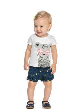 conjunto blusa e short bebe feminino oncinha branco elian 211159 1