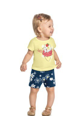 conjunto blusa e short bebe feminino super cute amarelo elian 211112 1