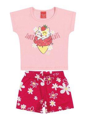 conjunto blusa e short bebe feminino super cute rosa elian 211112
