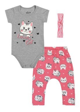 conjunto body calca faixa cabelo bebe feminino lovely cat mescla elian 211155