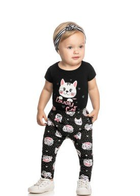 conjunto body calca faixa cabelo bebe feminino lovely cat preto elian 211155 1