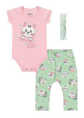conjunto body calca faixa cabelo bebe feminino lovely cat rosa elian 211155