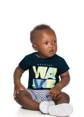 conjunto camiseta e bermuda bebe masculino wave marinho elian 20907 1