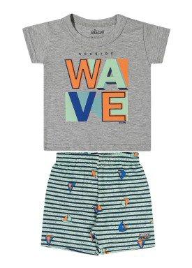 conjunto camiseta e bermuda bebe masculino wave mescla elian 20907