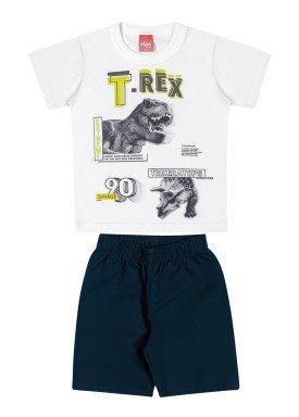 conjunto camiseta e bermuda infantil masculina trex branco elian 221098