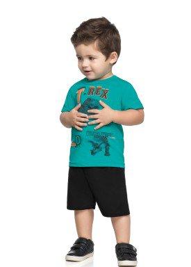 conjunto camiseta e bermuda infantil masculina trex verde elian 221098 1