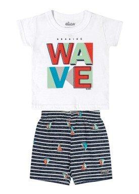 conjunto camiseta e bermuda infantil masculino wave branco elian 20907