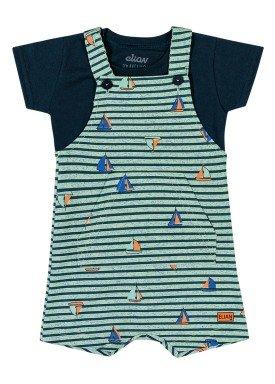 conjunto camiseta e macacao bebe masculino barcos marinho elian 20911