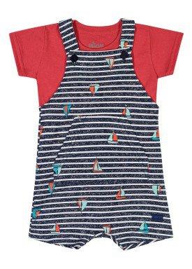 conjunto camiseta e macacao bebe masculino barcos vermelho elian 20911