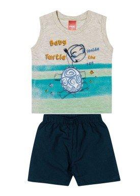 conjunto regata e bermuda bebe masculino baby turtle mescla elian 20908