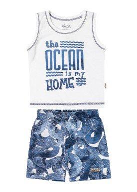 conjunto regata e bermuda bebe masculino ocean branco elian 20941