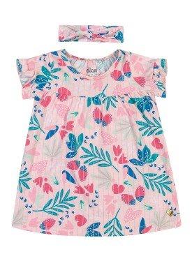 vestido com faixa cabelo bebe feminino natureza rosa elian 211103