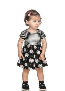 vestido cotton bebe feminino cats preto elian 211152 1