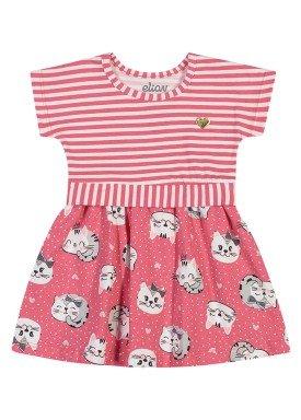 vestido cotton bebe feminino cats rosa elian 211152