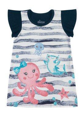 vestido cotton bebe feminino fundo mar marinho elian 211163