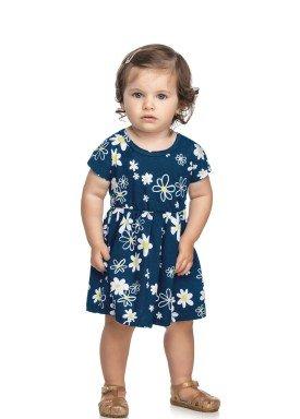 vestido meia malha bebe infantil feminino floral marinho elian 211111 1