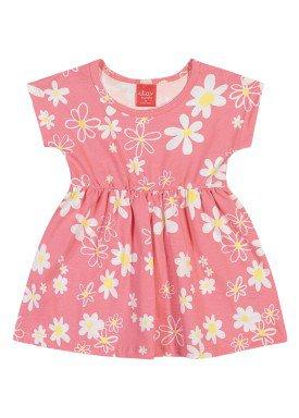 vestido meia malha bebe infantil feminino floral rosa elian 211111