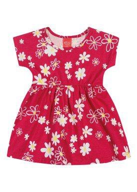 vestido meia malha bebe infantil feminino floral vermelho elian 211111