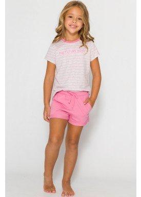 pijama curto infantil feminino future boss mescla evanilda 49010038