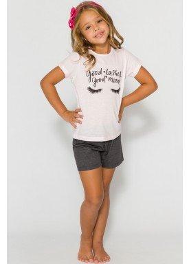 pijama curto infantil feminino good mood rosa evanilda 49010040