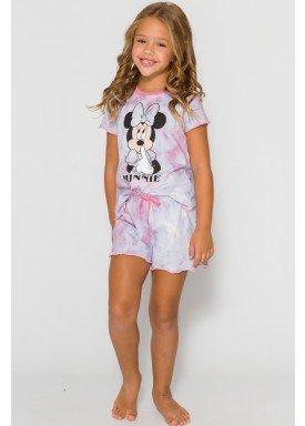 pijama curto infantil feminino minnie lilas evanilda 49030029
