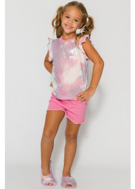 pijama curto infantil feminino rainbows rosa evanilda 49010039