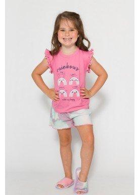pijama curto infantil feminino rainbows rosa evanilda 60010007