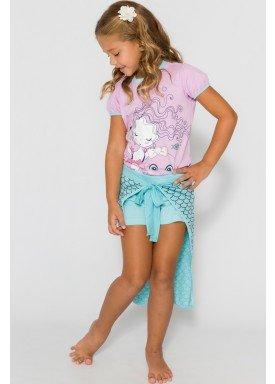 pijama curto infantil feminino sereia rosa evanilda 49010041