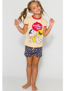 pijama curto infantil feminino turma monica amarelo evanilda 49040024