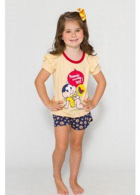 pijama curto infantil feminino turma monica amarelo evanilda 60040013