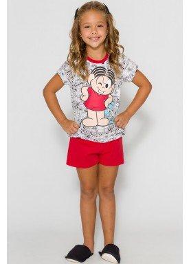 pijama curto infantil feminino turma monica cinza evanilda 49040025