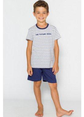 pijama curto infantil masculino future boss mescla evanilda 52010024