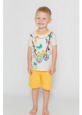 pijama curto infantil masculino wildflife branco evanilda 61010009