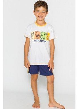 pijama curto infantil masculino wildlife branco evanilda 52010025