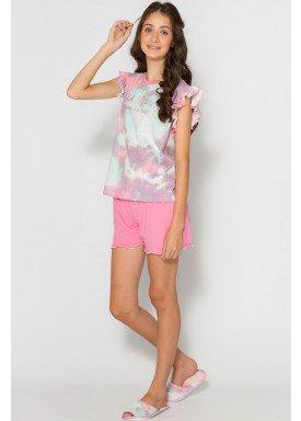 pijama curto juvenil feminino rainbows rosa evanilda 50010026