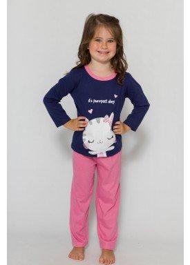 pijama longo infantil feminino purrfect marinho evanilda 40010007