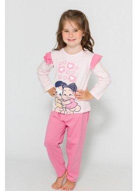 pijama longo infantil feminino turma monica rosa evanilda 40040016