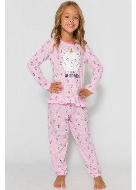 pijama longo infantil feminino weekend rosa evanilda 24010071