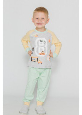 pijama longo infantil masculino city mescla evanilda 41010007