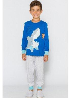 pijama longo infantil masculino pizza shark azul evanilda 27010046