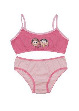 conjunto top e calcinha infantil feminino turma monica rosa evanilda 22040045