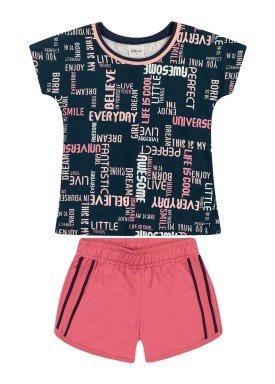 conjunto blusa e short infantil feminino universe marinho elian 251439